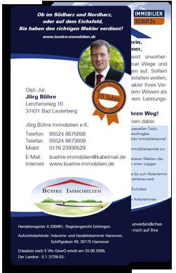 Jörg Bühre Immobilien e.K. zum in die Hand nehmen und weitergeben! Mit dem Flyer stelle ich den Service und meine Leistungen als Makler aus Bad Lauterberg im Harz kurz vor.