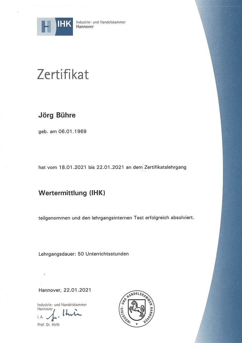 """IHK Zertifikat über die erfolgreiche Teilnahme an dem Zertifikatslehrgang """"Wertermittlung"""" im Januar 2021"""